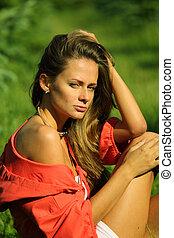 woman on green grass
