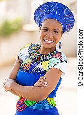 young south african zulu woman portrait outdoors - young...