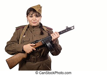 young soviet woman soldier on the white background