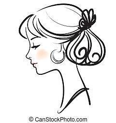 Young spanish flamenco dancer beautiful face vector illustration