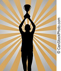 Young sport winner on gold silver background