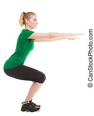 young sporty girl doing stretching exercise isolated