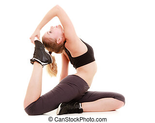 young sporty girl doing stretching exercise isolated. Healthy lifestyle