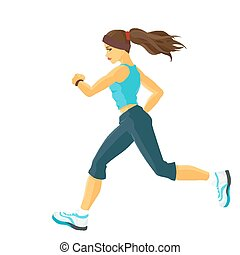 Jogging - Young sporty girl takes sports/ Running / Jogging...