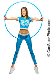 Young sporty girl with hoop
