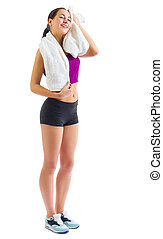 Young sporty girl with towel