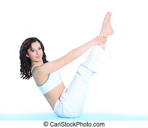 young sporty woman doing stretching exercise. isolated on white background.