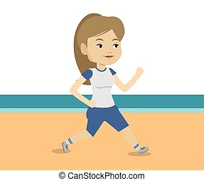 Young sporty woman jogging on the beach.