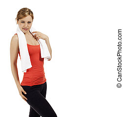 young sporty woman with a white towel on white background