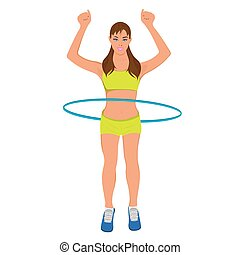 young sporty woman with hoop, fitness, vector illustration