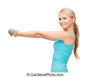 young sporty woman with light dumbbells - sport, excercising...
