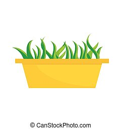 Young sprout seedlings in plastic flower box icon