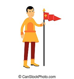 Young standard bearer holding a red banner with a royal symbol, medieval character colorful vector Illustration