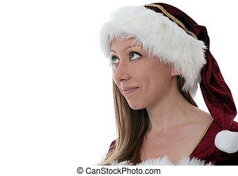 Santa Claus woman looking up