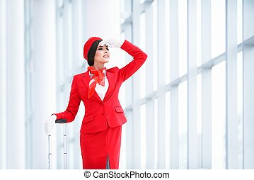 Young stewardess
