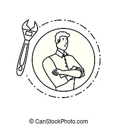 young strong man with wrench tool