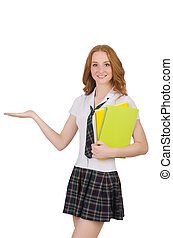 Young student female holding isolated on white