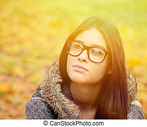 Young student girl in glasses portrait