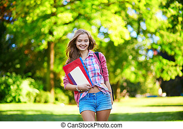Young student girl outdoors