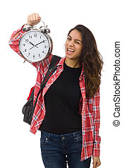 Young student girl with alarm clock