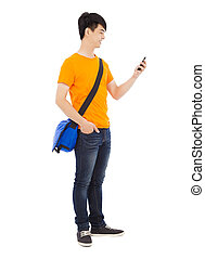 young student holding a smartphone with white background