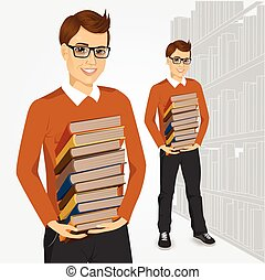 young student holding stack of books