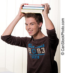 Young student in learning with books