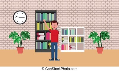 young student in library bookshelf books clock plants...