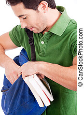 Young student looking through  bag