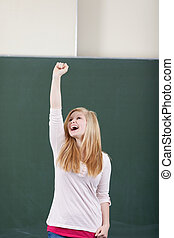 Young student rejoicing