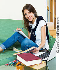 Young student study at home