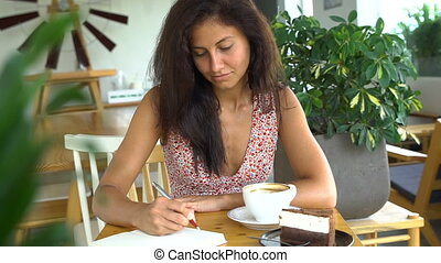 Young student studying and drink coffee