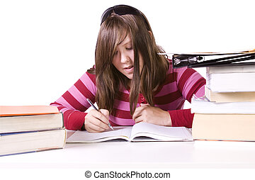 Young student studying for exams