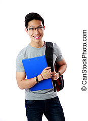 Young student with backpack and notebook standing over white background