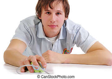 Young student with computer mouse