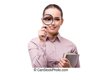 Young student with magnifying glass isolated on white