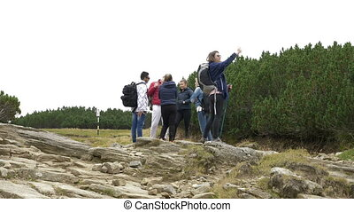 Young student woman on mountain trip with her friends using smartphone in nature checking for no network signal