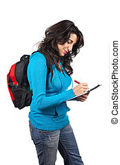 Young student woman writing