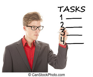 Young student writing tasks items isolated on white...