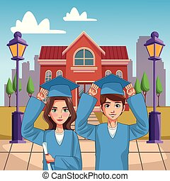 Young students cartoons