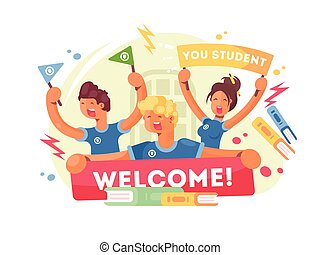 Young students greeted with new poster. Welcome to university. Vector illustration