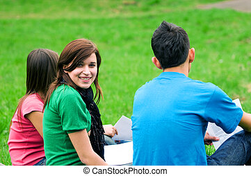 Young students learning outdoor