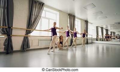 Young students of ballet school are practising basic...
