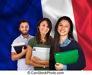 Young students over French flag