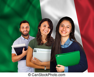 Young students over italian flag