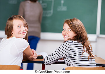 Young students sitting on chair during the class in ...