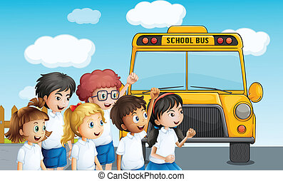 Young students waiting for the schoolbus - Illustration of...