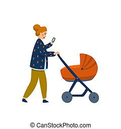 Young stylish Mother with baby in stroller. Young mother walking with baby carriage and reading . Cartoon style vector illustration