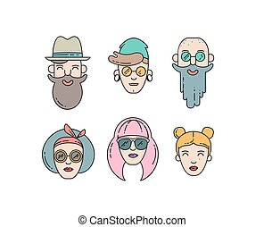 Young stylish people linear vector illustration