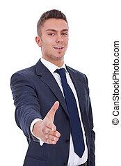businessman waiting for handshake